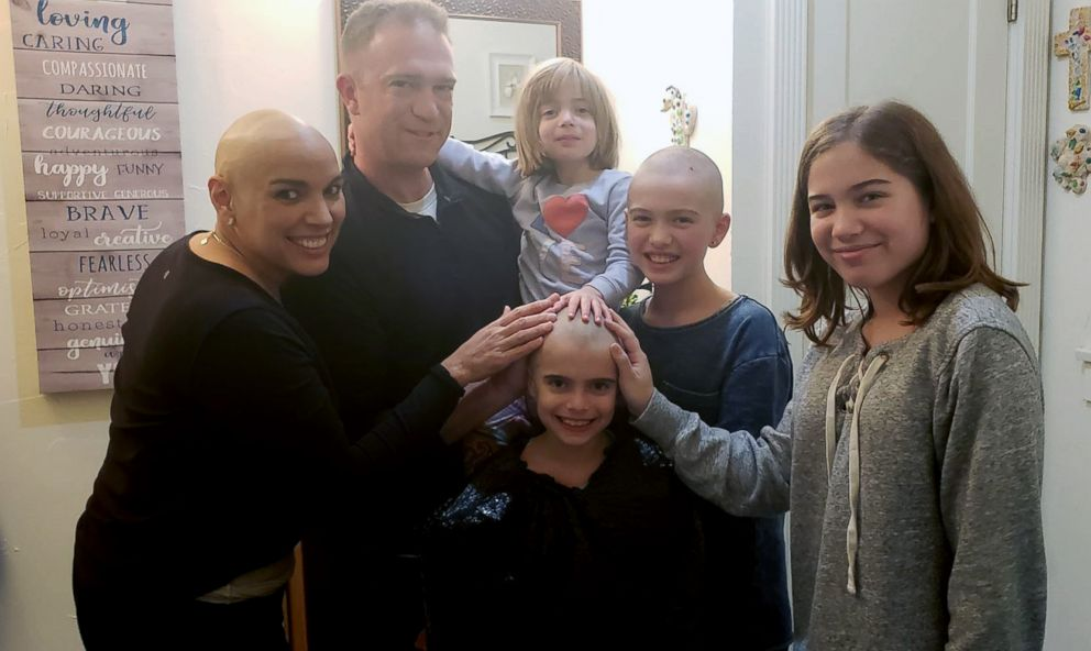 PHOTO: Joanna McPherson of Shreveport, Louisiana, was touched when her daughters, Kayla, 10 and Sophia, 7, shaved their heads after Joanna began losing her hair from chemo treatments.
