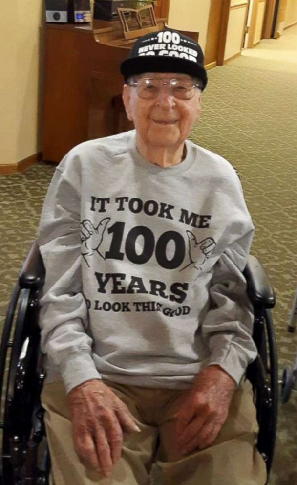PHOTO: WWII veteran, Joe Cuba, is pictured here at Brookdale Midwestern assisted living community ahead of his 100th birthday on March 2nd.