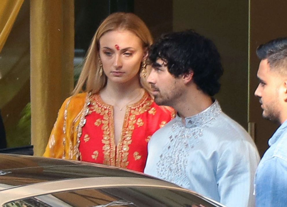 Sophie Turner leave a hotel in India dressed in traditional clothing for Nicks brother Joes wedding to Priyanka Chopra Nov. 29 2018