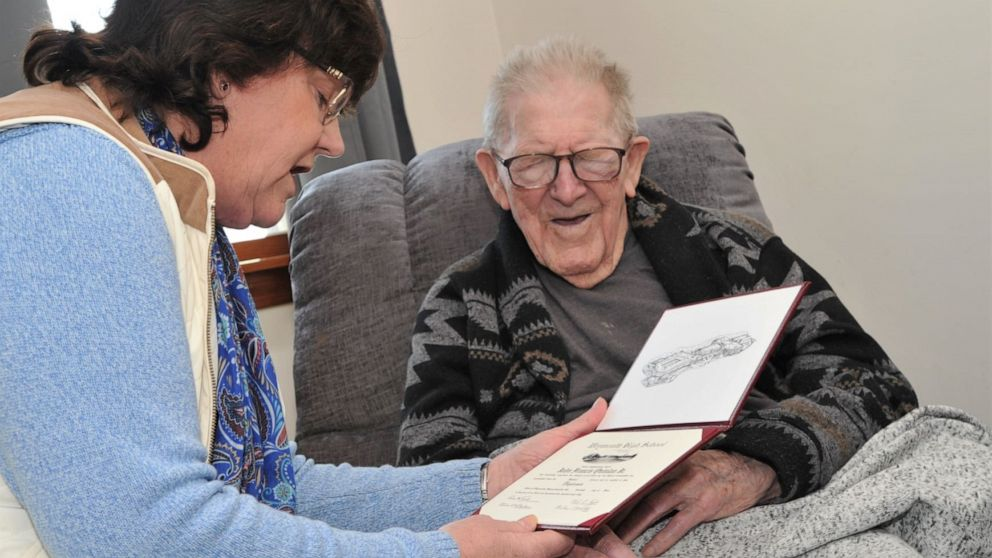 99-year-old presented with his high school diploma on his birthday