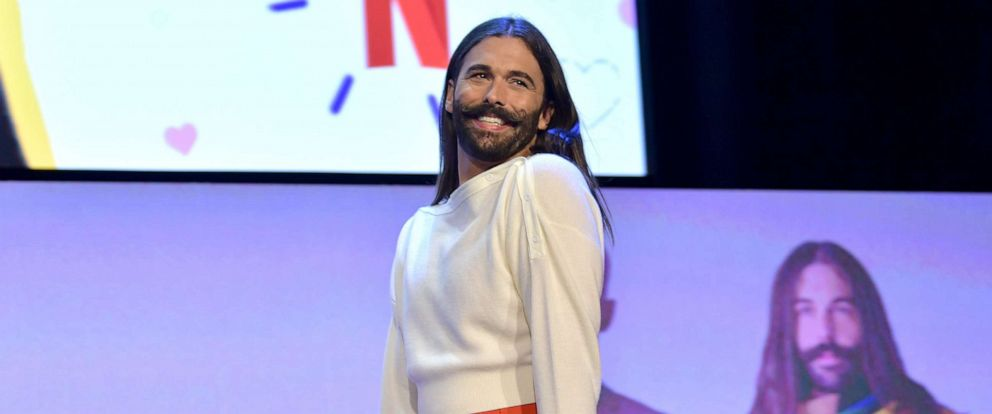 """PHOTO: Jonathan Van Ness speaks onstage during the Netflix FYSEE """"Queer Eye"""" panel and reception on May 16, 2019, in Los Angeles."""