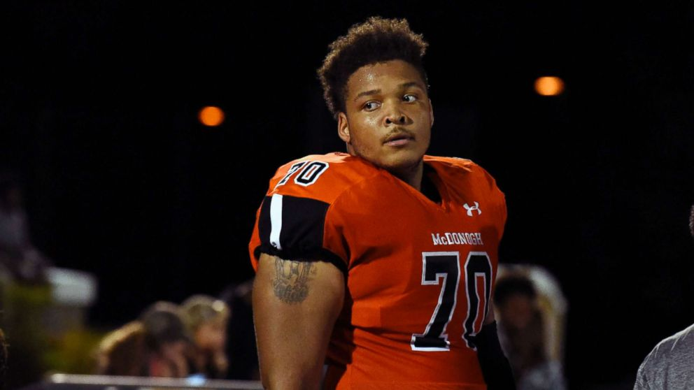 In a Sept. 16, 2016 file image, lineman Jordan McNair of McDonogh High School, with the University of Maryland, died June 13, 2018, two weeks after collapsing during a team workout.