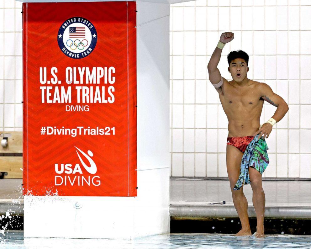 PHOTO: Jordan Windle reacts in the men's 10-meter platform final during 2021 U.S. Olympic Trials at Indiana University Natatorium on June 12, 2021 in Indianapolis.