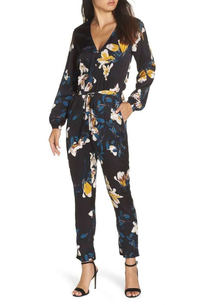 PHOTO: Knot Sisters Josie Floral Satin Jumpsuit