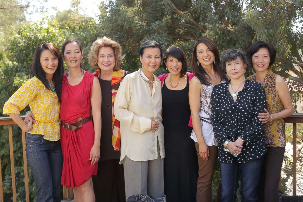 """""""The Joy Luck Club"""" stars Tamlyn Tom, Rosalind Chao, Lisa Lu, Lauren Tom, Ming-Na Wen, Tsai Chen and others are pictured together in March 2013 at Wen's house to celebrate the 20th anniversary of the film."""