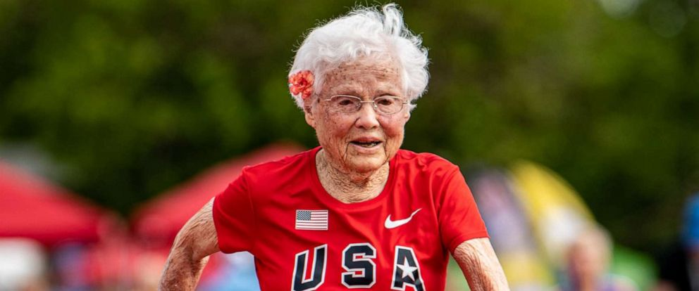 PHOTO: Julia Hawkins runs the 50-meter race at the 2019 National Senior Games in Albuquerque, New Mexico.