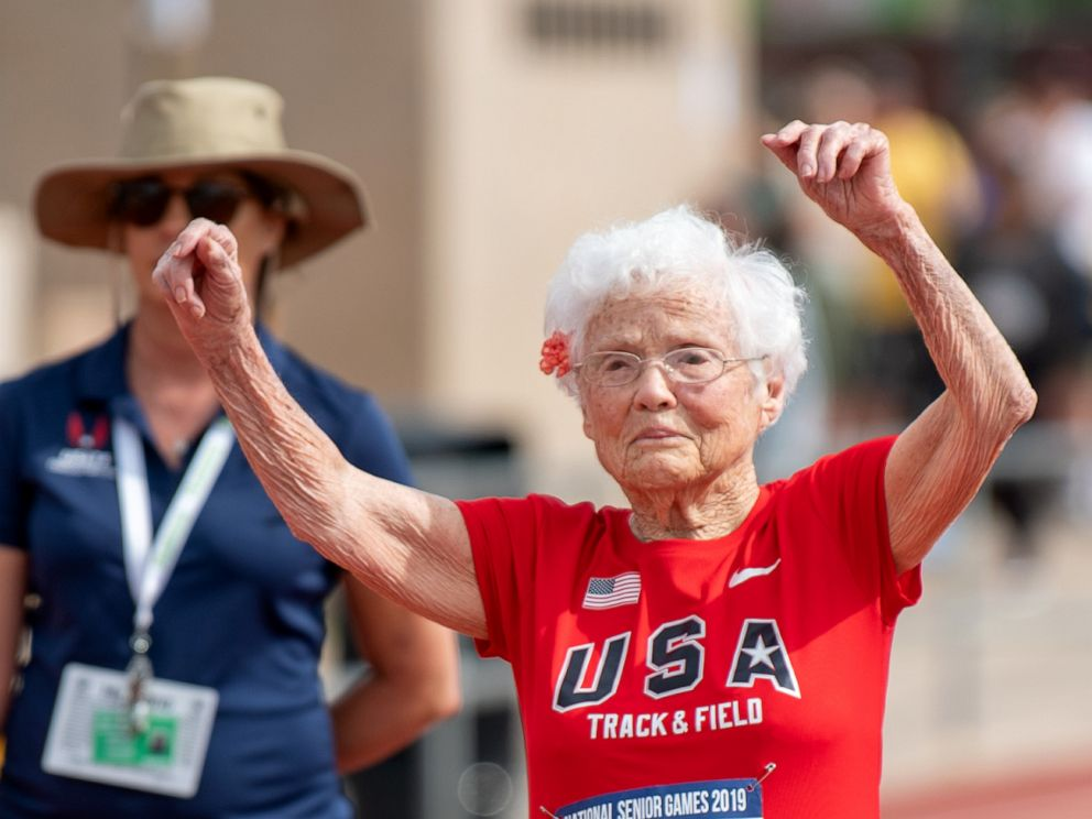 PHOTO: Julia Hawkins celebrates her win at the 50-meter race at the 2019 National Senior Games in Albuquerque, New Mexico.