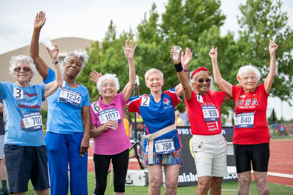 PHOTO: Julia Hawkins, far right, poses with other athletes at the 2019 Senior Games in Albuquerque, New Mexico.