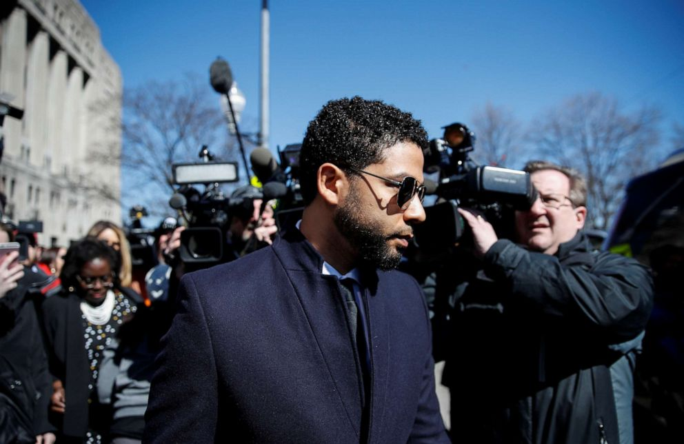Jussie Smollett leaves court after charges against him were dropped by state prosecutors in Chicago, March 26, 2019.