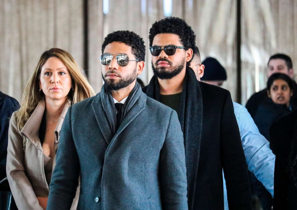 Actor Jussie Smollett and his team arrive for a court hearing at the Leighton Criminal Courthouse on March 12, 2019, in Chicago.