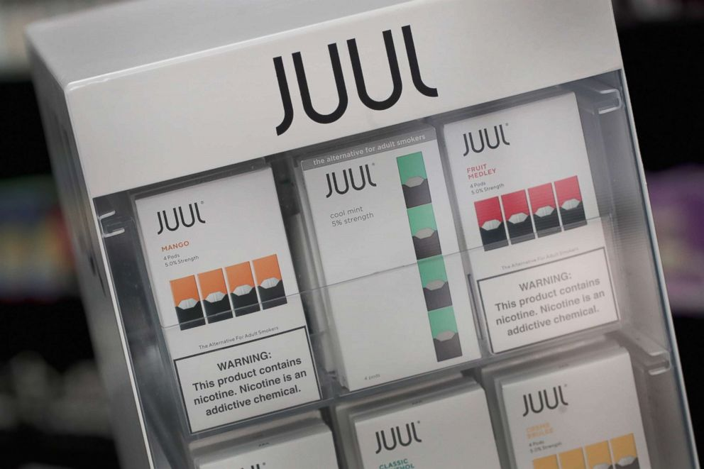 PHOTO: Electronic cigarettes and pods by Juul are offered for sale at a store in Chicago, Sept. 13, 2018.