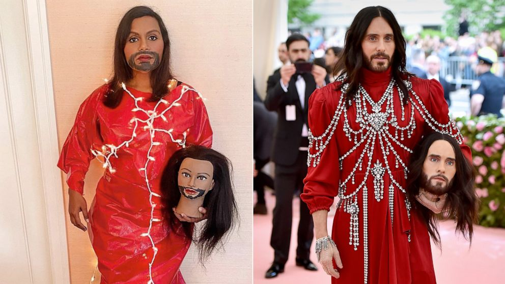 Metgalachallenge Mindy Kaling And Other Stars Recreate Iconic Met Gala Looks Gma