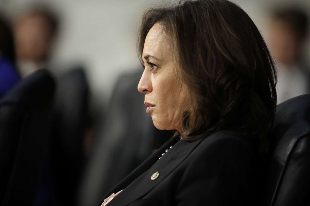 PHOTO: Sen. Kamala Harris listens to testimony from U.S. Attorney General nominee William Barr during his confirmation hearing, Jan. 15, 2019, in Washington, D.C.