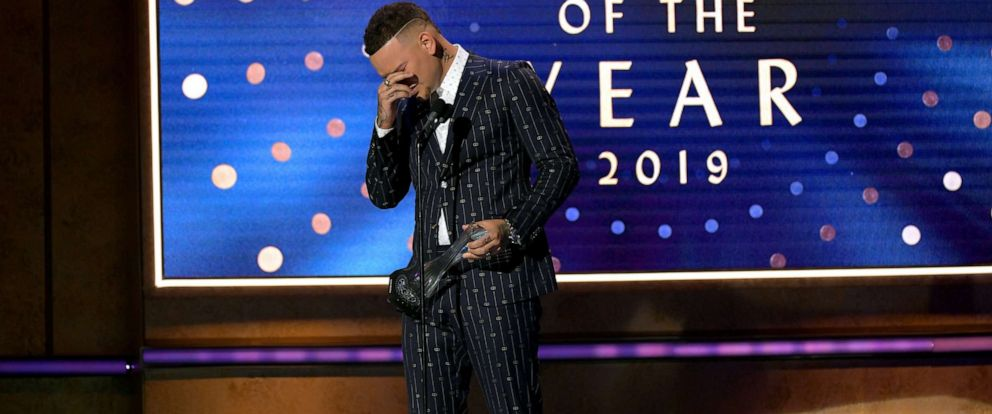 PHOTO: Honoree Kane Brown accepts an award onstage during the 2019 CMT Artist of the Year at Schermerhorn Symphony Center on Oct. 16, 2019 in Nashville, Tenn.