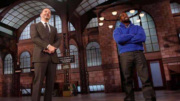 Kanye West pays a surprise visit to 'Jimmy Kimmel Live!' -- declares 'I work for God'