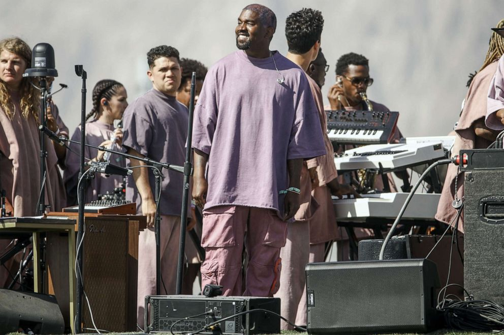 PHOTO: Kanye West performs Sunday Service during the 2019 Coachella Valley Music And Arts Festival on April 21, 2019 in Indio, Calif