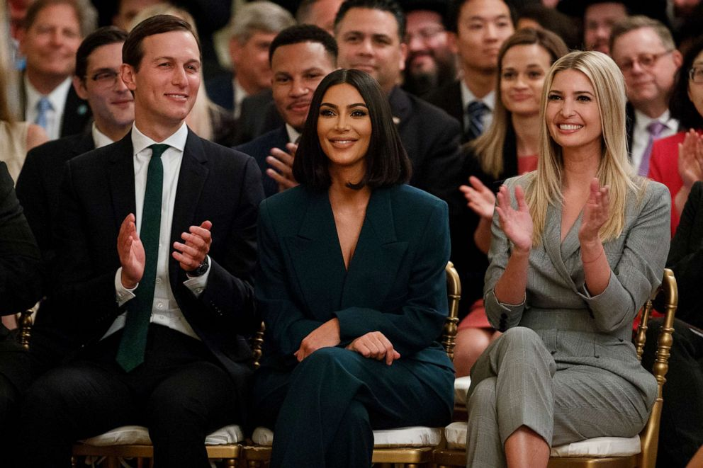 PHOTO: White House senior adviser Jared Kushner, left, and Ivanka Trump applaud as Kim Kardashian West is introduced during an event in the East Room of the White House, June 13, 2019, in Washington, D.C.