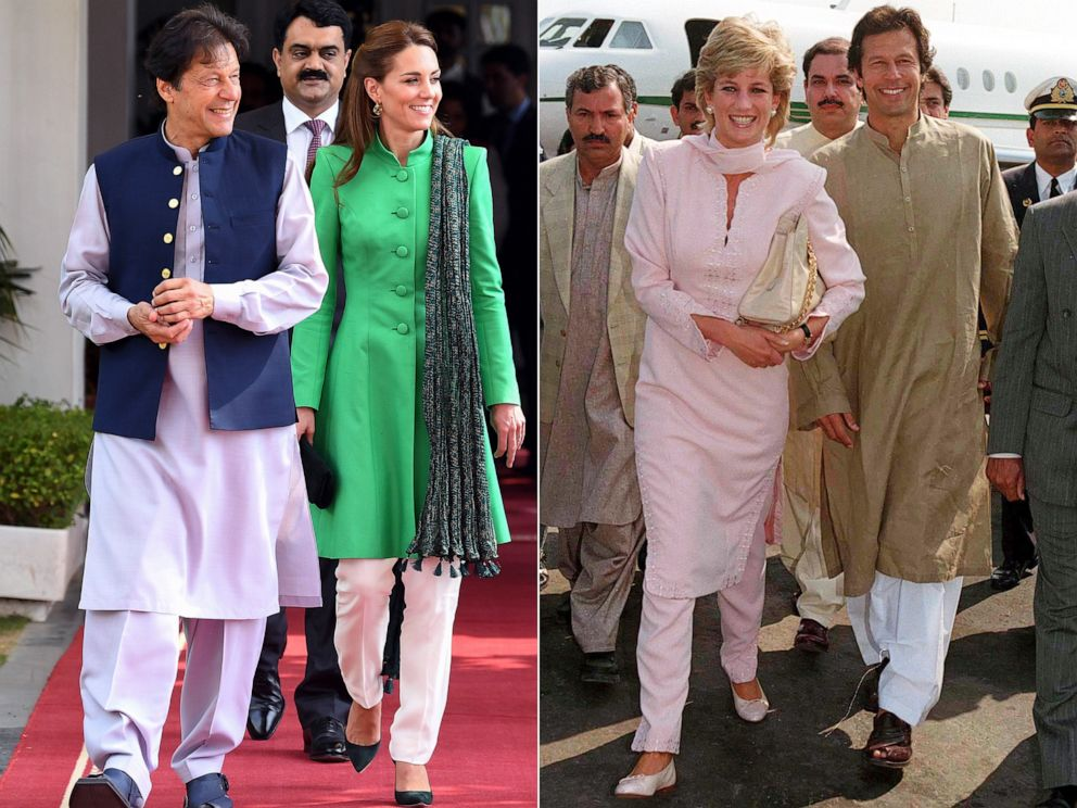PHOTO: Left: Prime Minister of Pakistan, Imran Khan and Kate, Duchess of Cambridge in Islamabad, Oct. 15, 2019. Right: Princess Diana with Imran Khan in Lahore, Pakistan, Feb. 20, 1996.