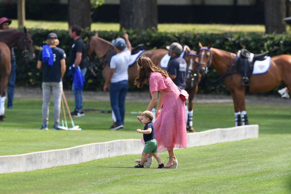 PHOTO: Catherine, Duchess of Cambridge and Prince Louis arrive at the King Power Royal Charity Polo Day, Billingbear Polo Club, Wokingham, England on July 10, 2019.