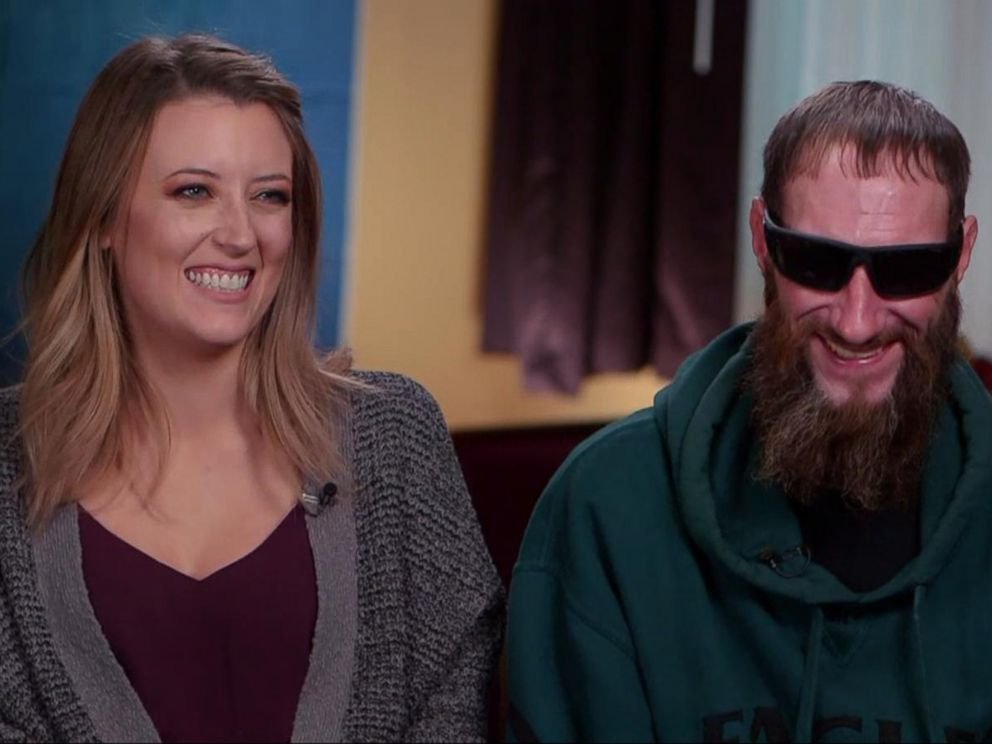 PHOTO: Kate McClure and Johnny Bobbitt reunite for the first time on TV after Bobbitt helped McClure when her car broke down two months ago on I-95 exit ramp in Philadelphia.