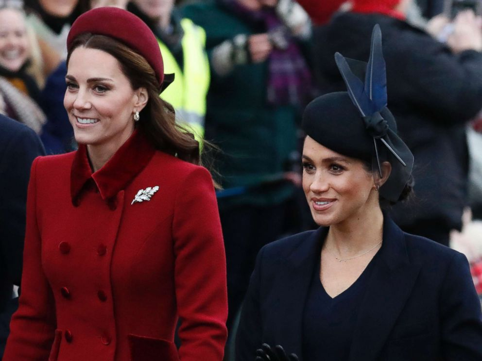 PHOTO: Britains Kate, Duchess of Cambridge, left, and Meghan, Duchess of Sussex arrive to attend the Christmas day service at St Mary Magdalene Church in Sandringham in Norfolk, England in this Dec. 25, 2018 file photo.