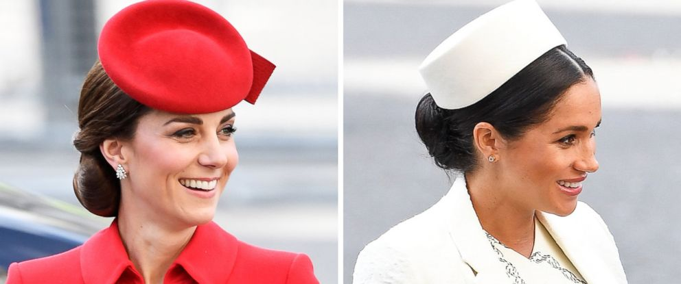PHOTO: A combination of two photos shows Catherine, Duchess of Cambridge and Meghan, Duchess of Sussex, arriving for the Commonwealth Service at Westminster Abbey on Commonwealth Day in London, March 11, 2019.