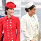 A combination of two photos shows Catherine, Duchess of Cambridge and Meghan, Duchess of Sussex, arriving for the Commonwealth Service at Westminster Abbey on Commonwealth Day in London, March 11, 2019.