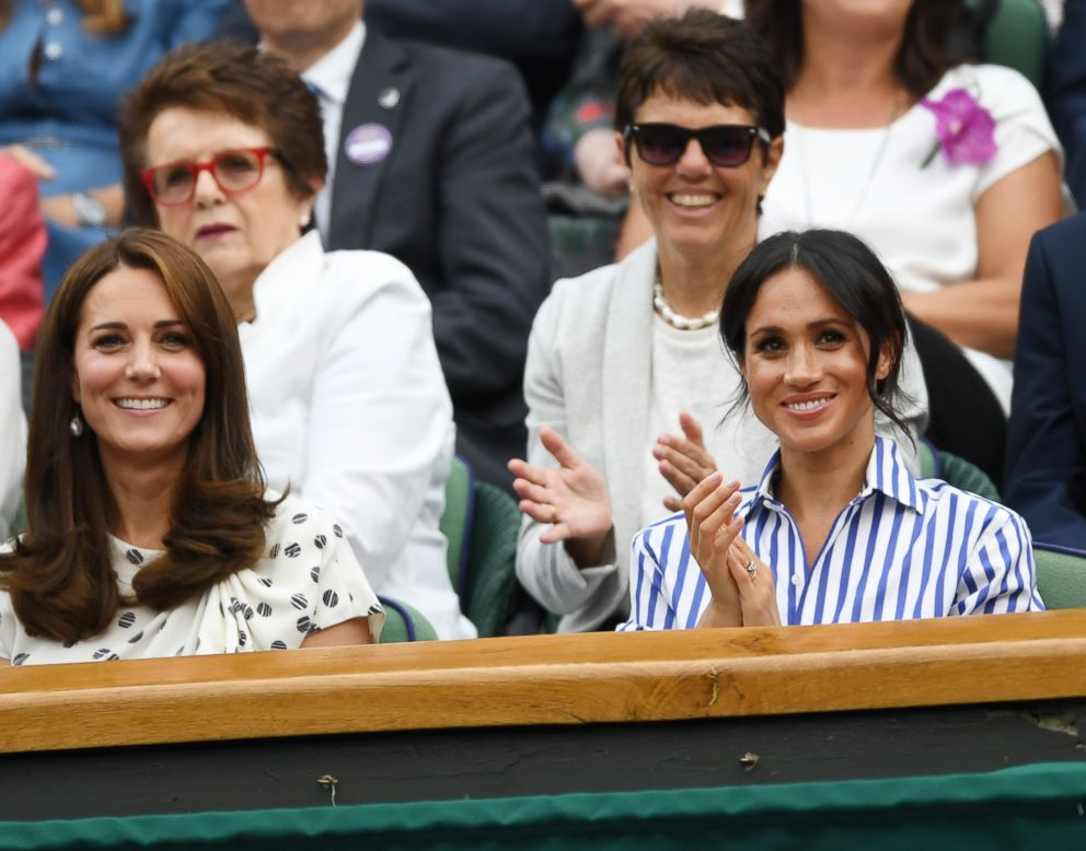 PHOTO: Kate, the Duchess of Cambridge, and Meghan Markle, The Duchess of Sussex, pictured at the All England Lawn Tennis Championships in Wimbledon, England, July 14th 2018.