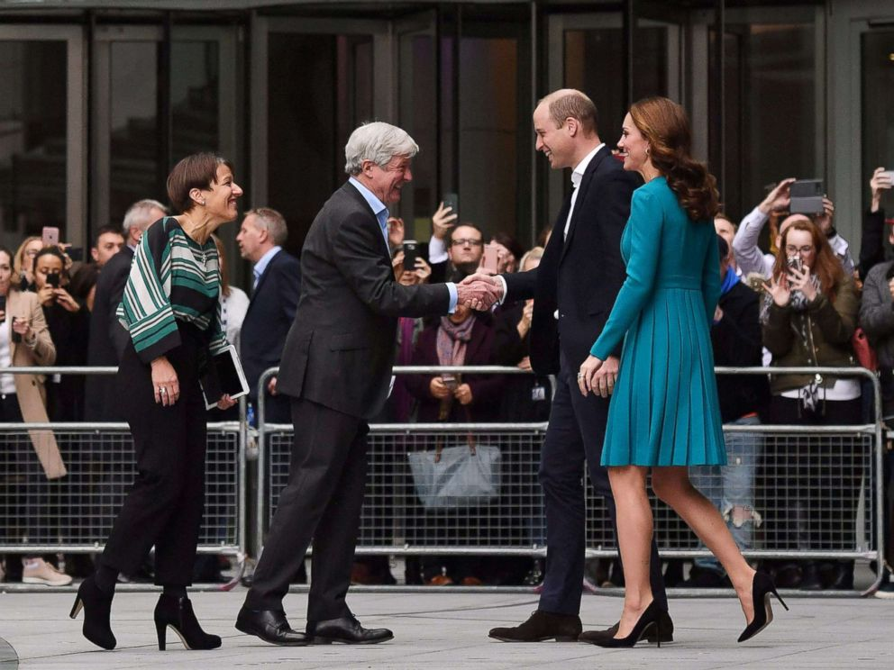 PHOTO: Britains Prince William and his wife, Catherine, Duchess of Cambridge, are greeted by Director-General of the BBC Tony Hall and Director of BBC Childrens Alice Webb during a visit to the BBC Broadcasting House in London, Nov. 15, 2018.