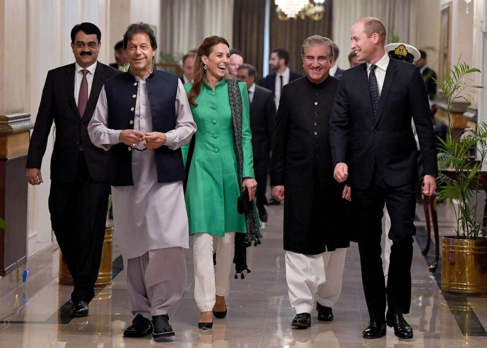 PHOTO: Prince William, Duke of Cambridge and Catherine, Duchess of Cambridge meet with the Prime Minister of Pakistan, Imran Khan, second from left, at his official residence, Oct. 15, 2019 in Islamabad, Pakistan.
