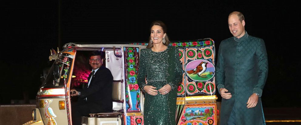 PHOTO: Catherine, Duchess of Cambridge and Prince William, Duke of Cambridge arrive by TukTuk as they attend a special reception hosted by the British High Commissioner Thomas Drew, at the Pakistan National Monument, Oct. 15, 2019, in Islamabad, Pakistan.