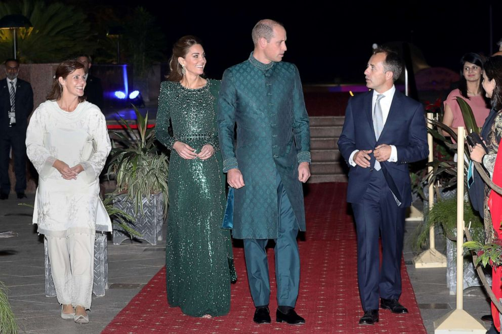 PHOTO: The Duke and Duchess of Cambridge, Prince William and Catherine, attend a special reception hosted by the British High Commissioner Thomas Drew, right, and his wife Joanna Drew, during their royal tour of Pakistan, Oct.15, 2019 in Islamabad.