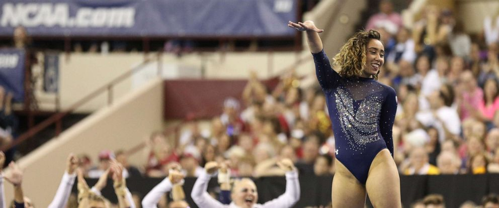 PHOTO: UCLAs Katelyn Ohashi performs on the floor during the NCAA Womens National Collegiate Gymnastics Championship Finals at the Fort Worth Convention Center in Fort Worth, Texas, April 20, 2019.
