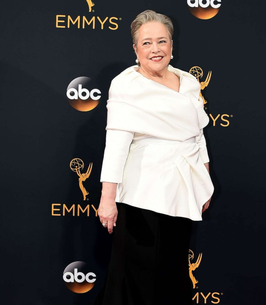 PHOTO: Actress Kathy Bates arrives for the 68th Emmy Awards on Sept. 18, 2016, at the Microsoft Theatre in Los Angeles.