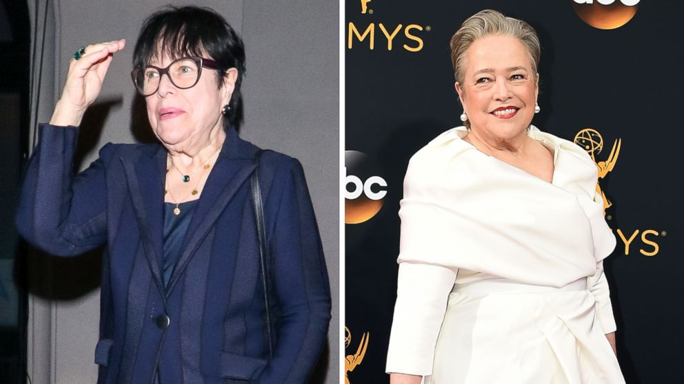 Kathy Bates is pictured in Los Angeles on Jan. 29, 2019, left, and Sept. 18, 2016, right.
