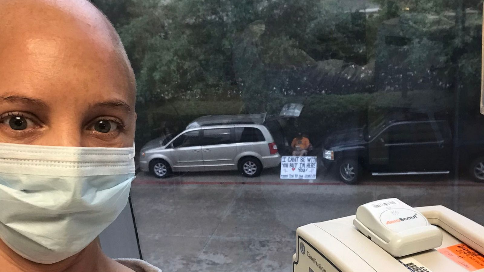 Husband holds sign outside for wife who has to go to chemotherapy ...