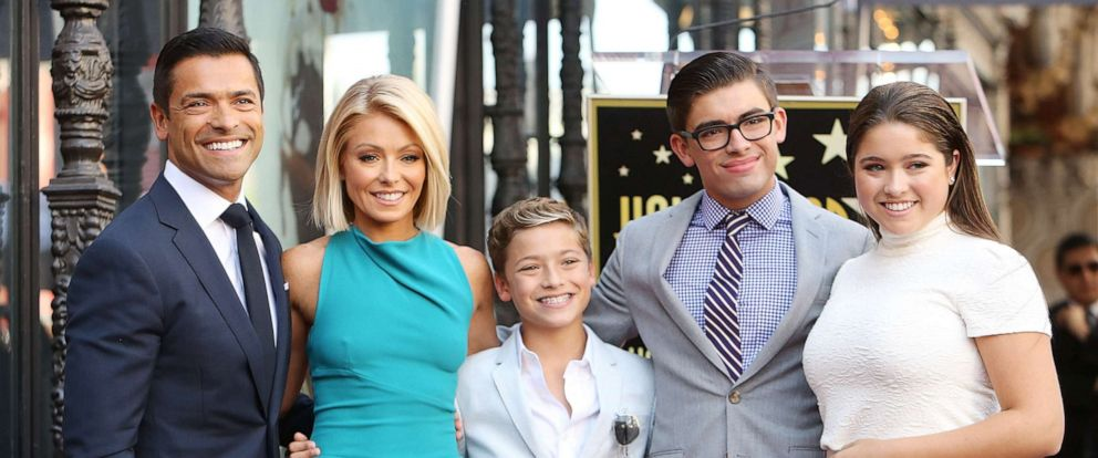 PHOTO: In this October 12, 2015, file photo, Kelly Ripa and Mark Consuelos pose with their children at the ceremony honoring Kelly Ripa with a Star on The Hollywood Walk of Fame held in Hollywood.