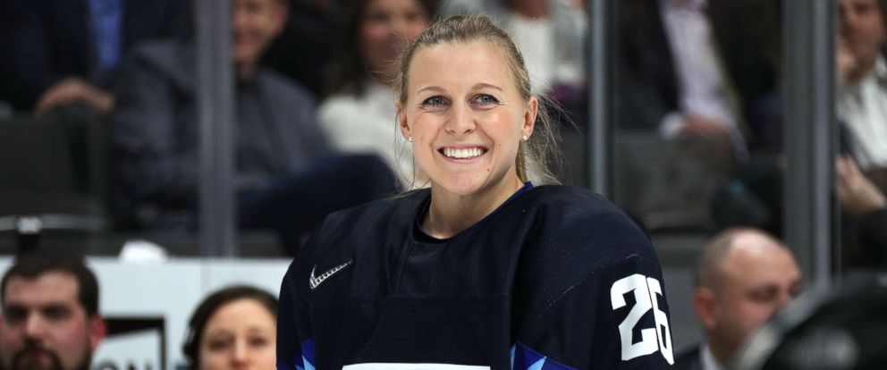 PHOTO: Kendall Coyne #26 of the U.S. Womens National hockey team smiles prior to the Bridgestone NHL Fastest Skater during the 2019 SAP NHL All-Star Skills, Jan. 25, 2019 in San Jose, Calif.