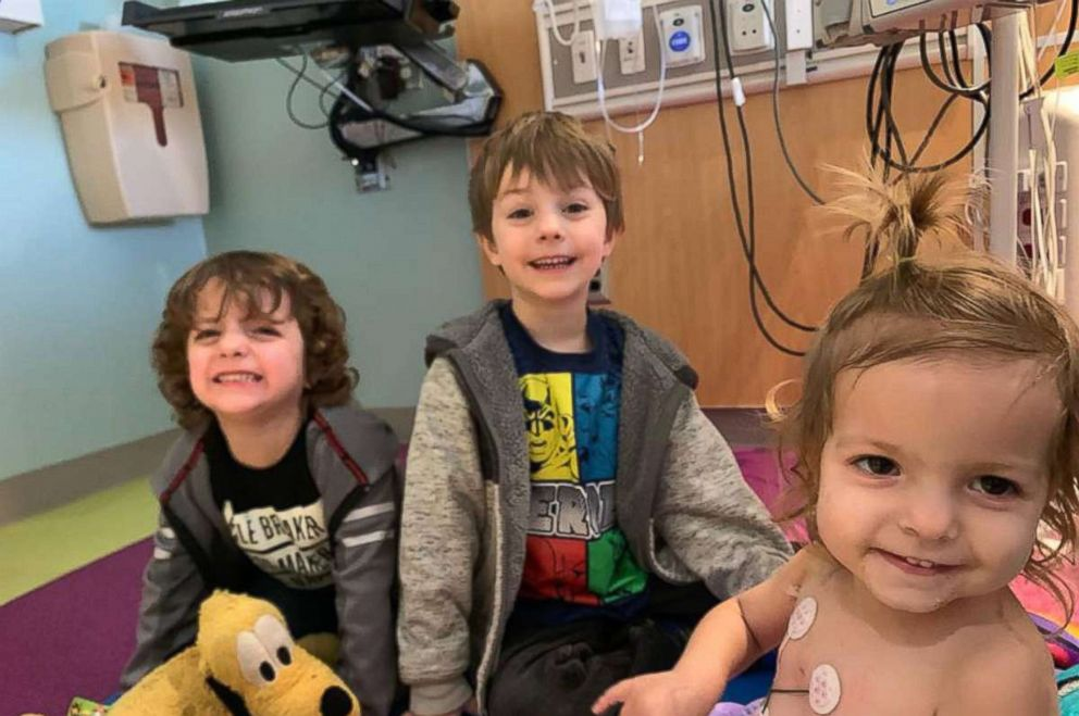 PHOTO: Kenni Shea Xydias poses in an undated file photo with her brothers, Jackson, 5 and Cason, 4, at CHOA Scottish Rite hospital in Atlanta.