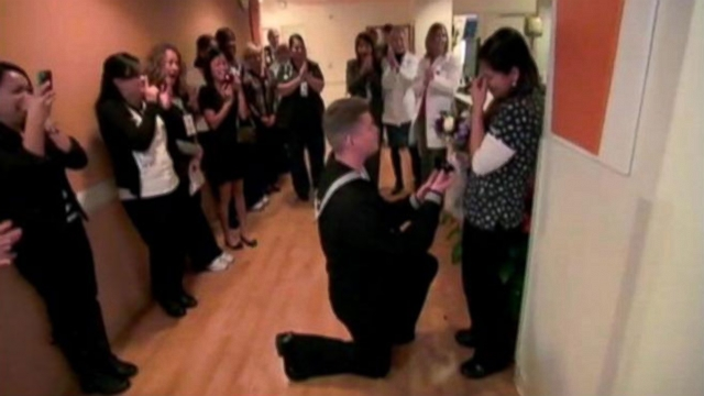 Robert Everhart, 30, proposed to his nurse girlfriend at the California hospital where they met.
