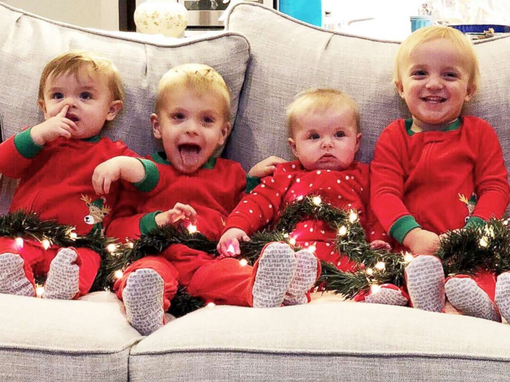 PHOTO: Kids pose for a Christmas photo. From left Hudson Daum (age 1), Carter Daum (3), Abby Eichner (7 months), twins Ben & Sophie Stockburger (2), and Luke Eichner (2).