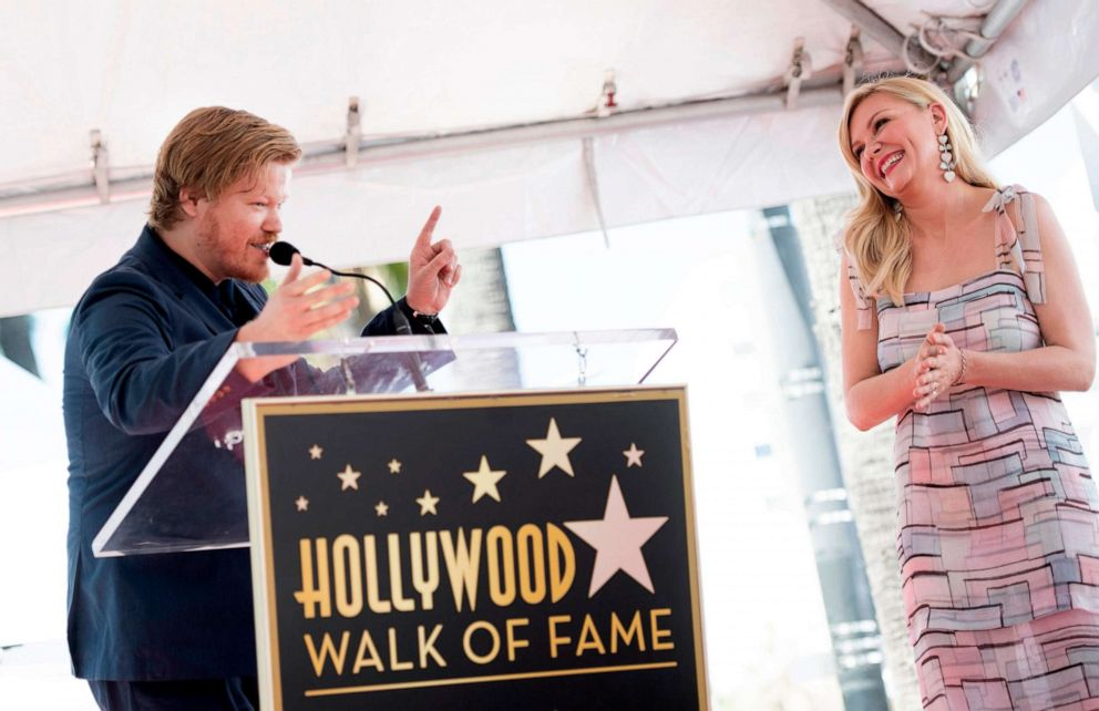 PHOTO: Actress Kirsten Dunst reacts as her partner, actor Jesse Plemons, speaks during a ceremony honoring her with a star on the Hollywood Walk of Fame on Aug. 29, 2019, in Hollywood, Calif.