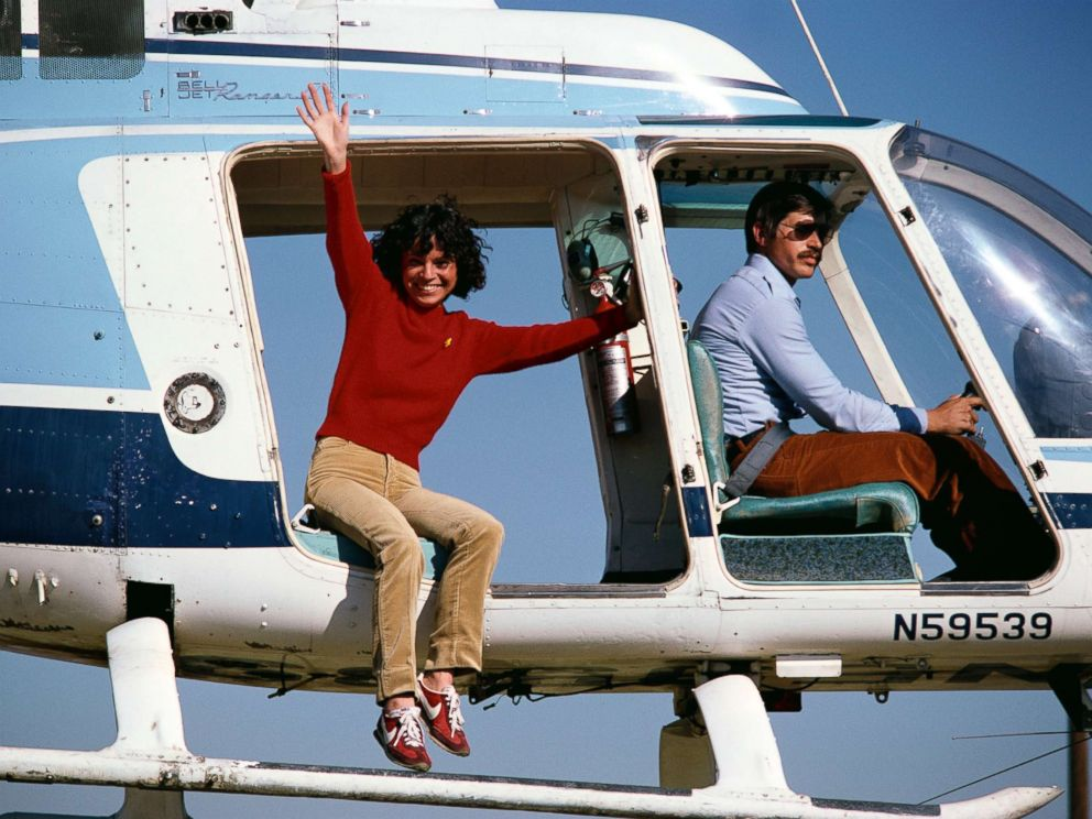 PHOTO: Stunt performer Kitty ONeil waves from a helicopter before jumping while doubling for Lynda Carter in the show Wonder Woman, circa 1979.