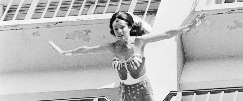 "PHOTO: Stunt woman Kitty ONeil performs a stunt for the show ""Wonder Woman,"" circa 1979. The script called for Wonder Woman to jump from a 12-story building."