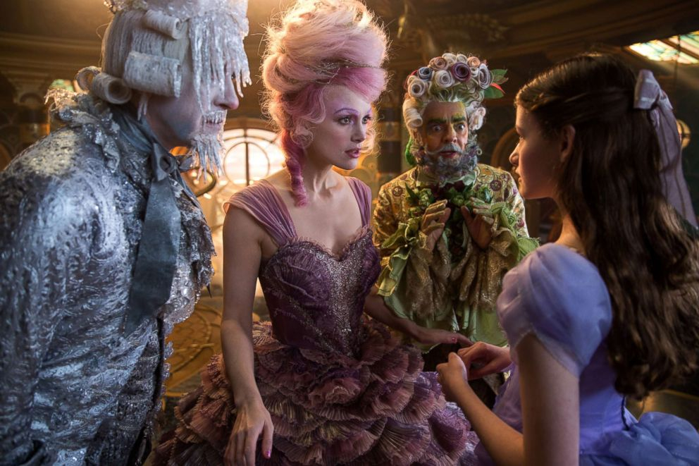 PHOTO: Richard E. Grant as Shiver, left, Keira Knightley as The Sugar Plum Fairy, Eugenio Derbrez as Hawthorne and Mackenzie Foy is Clara in Disneys The Nutcracker and the Four Realms.