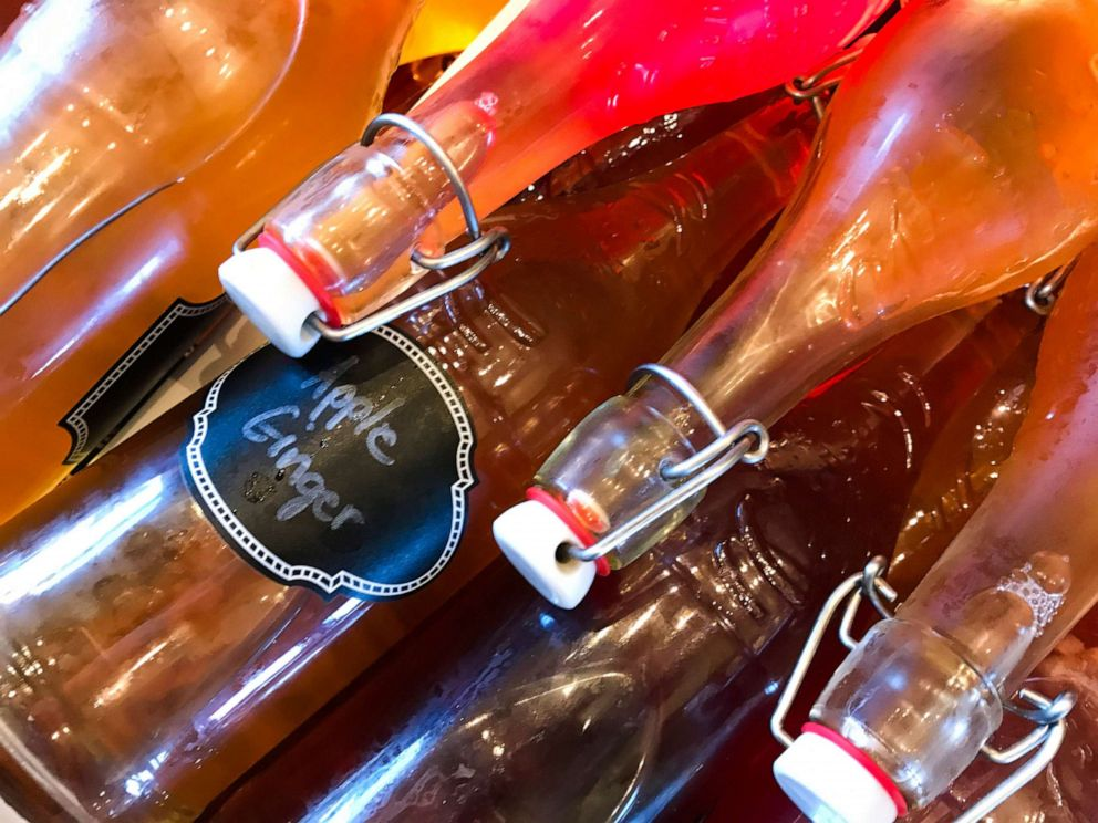 PHOTO: Bottles Of Homemade Kombucha Tea In Storage