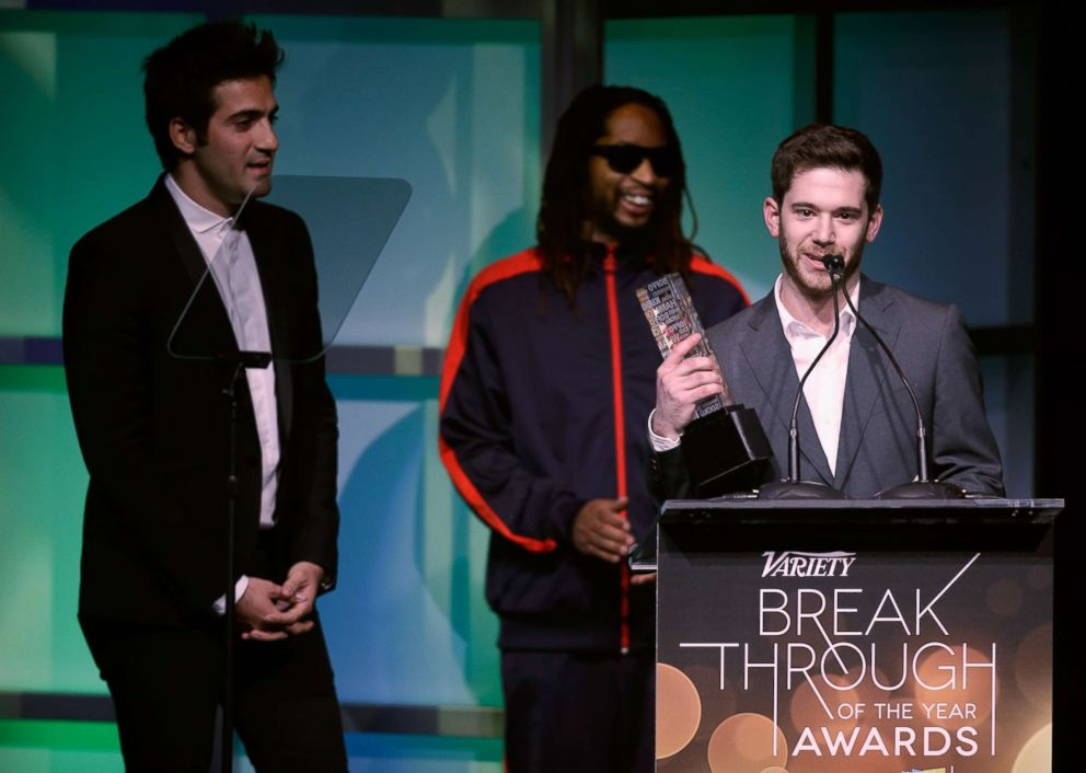 PHOTO: Colin Kroll accepts the Breakthrough Award for Emerging Technology from rapper Lil Jon (C) onstage at the Variety Breakthrough of the Year Awards during the 2014 International CES at The Las Vegas Hotel & Casino, Jan. 9, 2014, in Las Vegas.