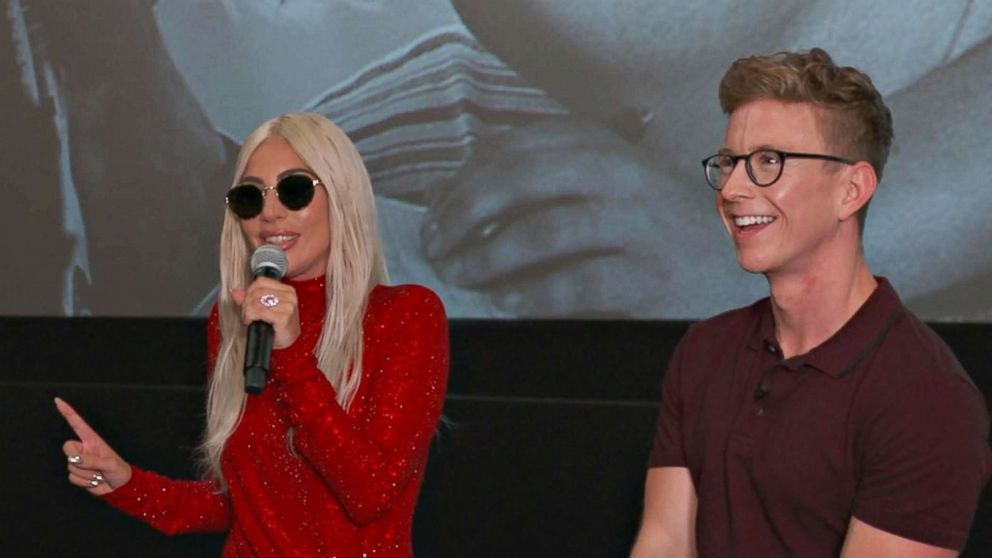 Cheers rung out in the New York City theater as Lady Gaga was introduced by YouTube star Tyler Oakley at the special fan screening.
