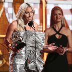 "Lady Gaga accept the award for best pop duo or group performance for ""Shallow"" at the 61st annual Grammy Awards, Feb. 10, 2019, in Los Angeles."
