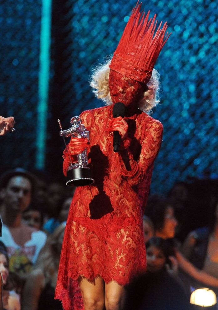 PHOTO: Lady Gaga accepts her award onstage during the 2009 MTV Video Music Awards at Radio City Music Hall on Sept. 13, 2009 in New York.